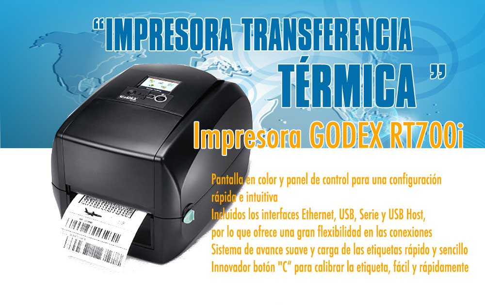 Impresora Godex RT700i, Impresora de Transferencia Térmica
